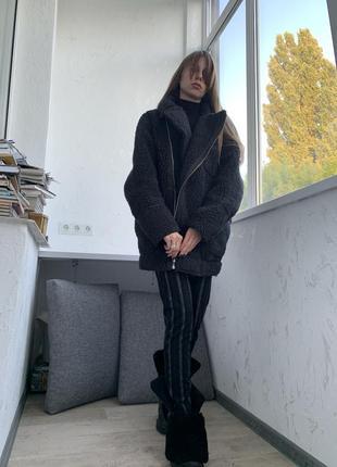Кожух косуха пальто дубленка  меховая оверсайз h&m1 фото