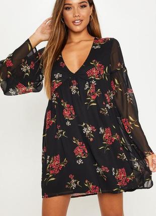 Шифоновое платье с цветочным принтом3 фото