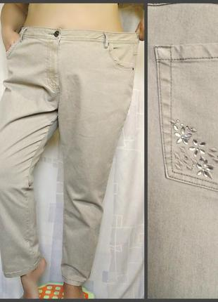 """Шикарные бежевые джинсы слимы """"devid emanuel"""", 73% хлопка1 фото"""
