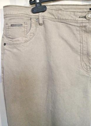 """Шикарные бежевые джинсы слимы """"devid emanuel"""", 73% хлопка7 фото"""
