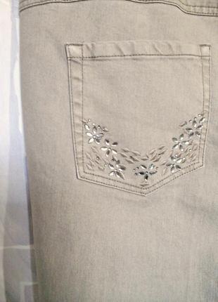 """Шикарные бежевые джинсы слимы """"devid emanuel"""", 73% хлопка8 фото"""