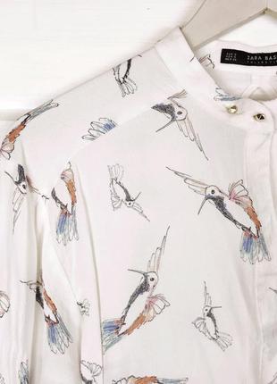 Ніжна блуза з принтом птахів zara1 фото