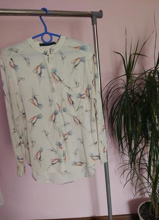 Ніжна блуза з принтом птахів zara2 фото