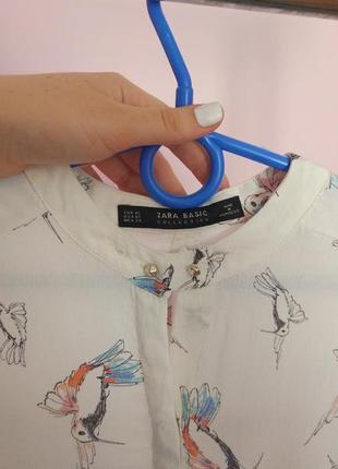 Ніжна блуза з принтом птахів zara4 фото