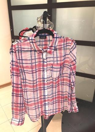 Шифоновая розовая рубашка