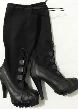 Сапоги ботфорты на высоком каблуке1 фото
