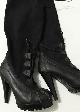 Сапоги ботфорты на высоком каблуке2 фото