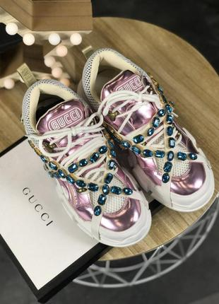 Кроссовки: gucci flashtrek pink white.7 фото