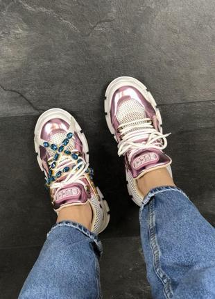 Кроссовки: gucci flashtrek pink white.8 фото