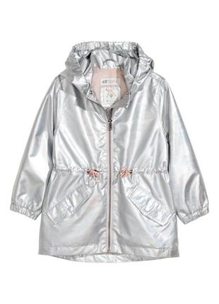Серебристая голографическая парка пальто куртка h&m, 2-3 г. новая!