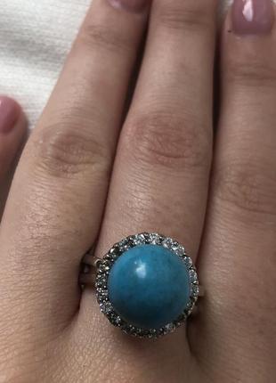 Красивое кольцо с бирюзой3 фото