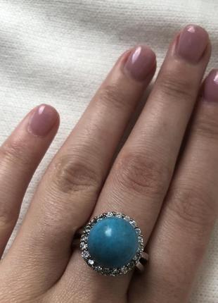 Красивое кольцо с бирюзой4 фото