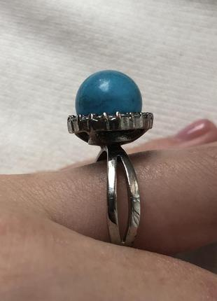 Красивое кольцо с бирюзой5 фото