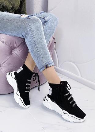 Новые шикарные женские черные кроссовки2 фото