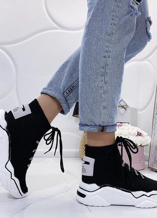 Новые шикарные женские черные кроссовки5 фото