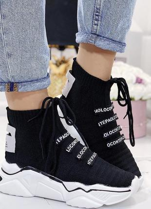 Новые шикарные женские черные кроссовки4 фото