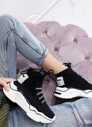 Новые шикарные женские черные кроссовки6 фото