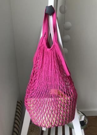 Сумка сетка авоська розовая1 фото