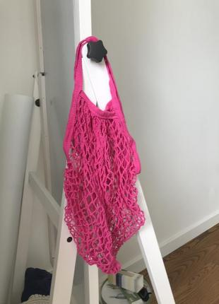Сумка сетка авоська розовая2 фото