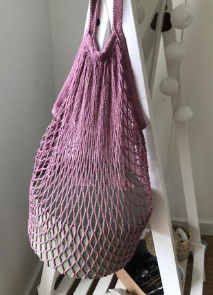 Сумка сетка авоська розовая3 фото