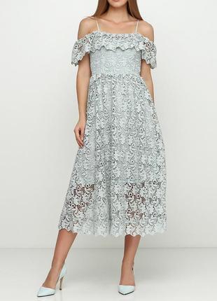 Красивое кружевное платье миди h&m с  открытыми плечиками1 фото