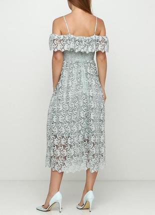 Красивое кружевное платье миди h&m с  открытыми плечиками2 фото