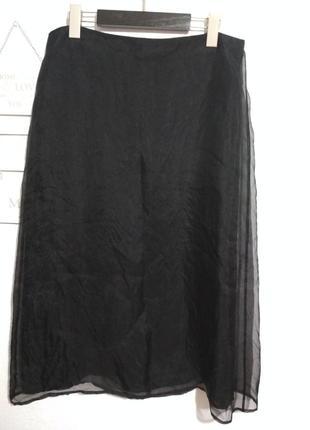 Роскошная шелковая юбка миди, 100% шёлк, органза, супер качество!!!2 фото