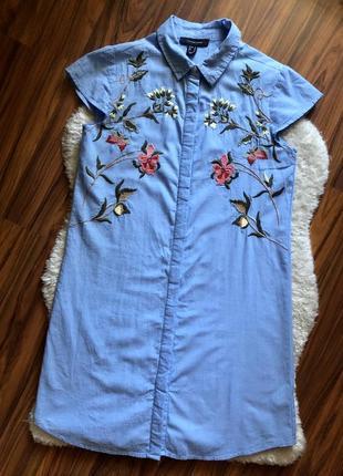 Платье рубашка с вышивкой холопок1 фото