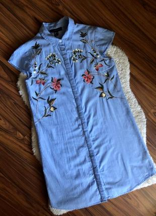 Платье рубашка с вышивкой холопок6 фото