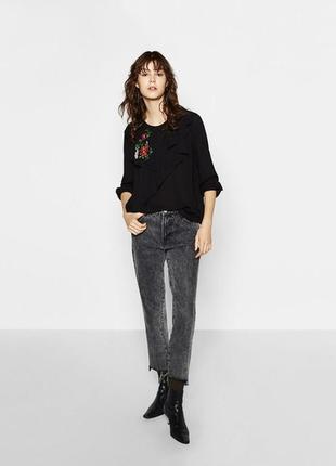 Черная шифоновая блузка с вышивкой4 фото