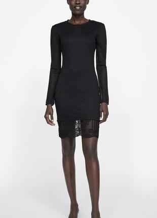 Красивое чёрное платье zara с кружевом