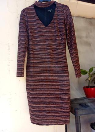 Новое черное золотое платье стрейч футляр с бронзовым люрексом от new look