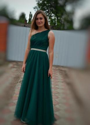 Бесподобное выпускное (вечернее) изумрудное платье