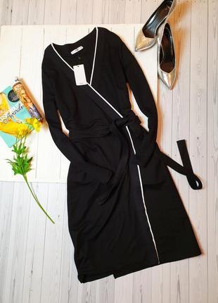 Платье манго назапах на запах классика трикотажное с поясом1 фото