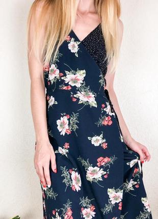 Платье  миди  в цветочный принт ,сарафан в цветочный принт