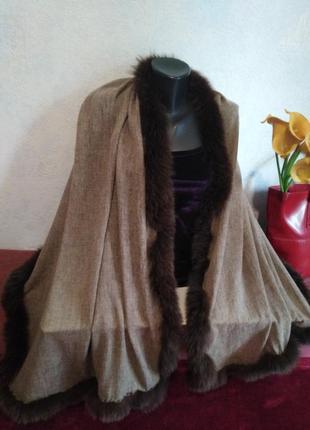 Шикарный палантин, осень-зима, декор из натурального меха180*701 фото