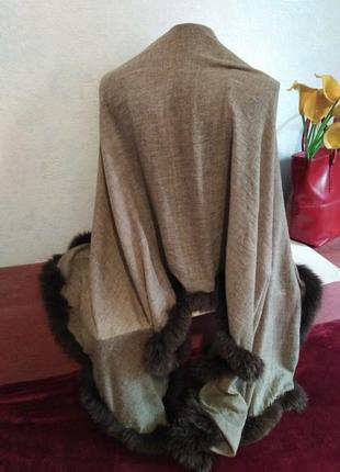 Шикарный палантин, осень-зима, декор из натурального меха180*702 фото