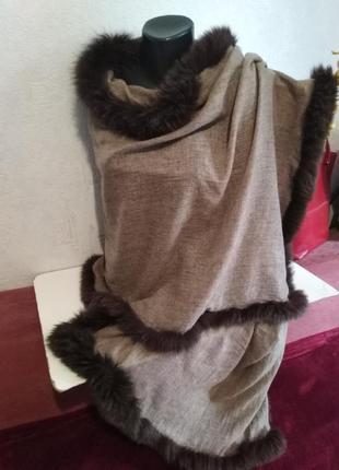 Шикарный палантин, осень-зима, декор из натурального меха180*703 фото