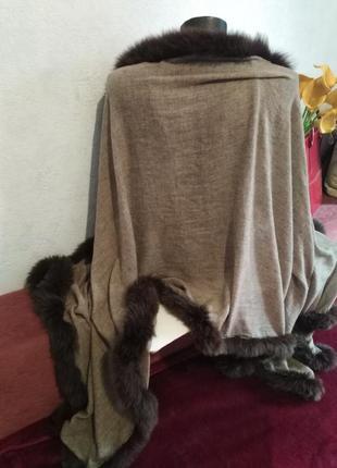 Шикарный палантин, осень-зима, декор из натурального меха180*704 фото