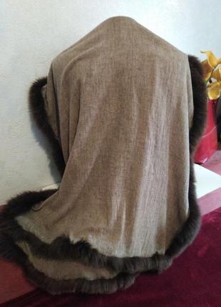 Шикарный палантин, осень-зима, декор из натурального меха180*705 фото