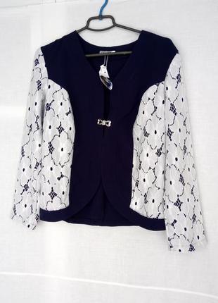 Нарядный пиджак с кружевом1 фото