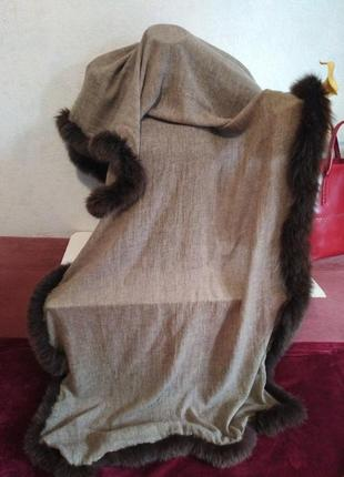 Шикарный палантин, осень-зима, декор из натурального меха180*709 фото