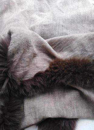 Шикарный палантин, осень-зима, декор из натурального меха180*7010 фото