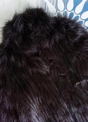 Коричневая черная шубка шуба искусственная искусственного меха штучного хутра под ламу5 фото
