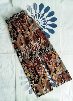 Широкие брюки палаццо принтом коричневые штаны широкими штанинами широкі высокой посадке2 фото