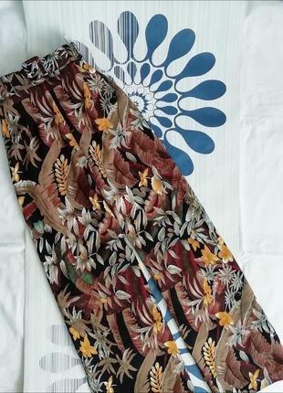 Широкие брюки палаццо принтом коричневые штаны широкими штанинами широкі высокой посадке3 фото