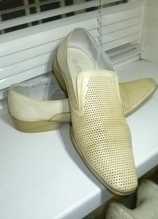 Фирменные летние туфли с перфорацией натуральная кожа+эко-кожа(мужские)