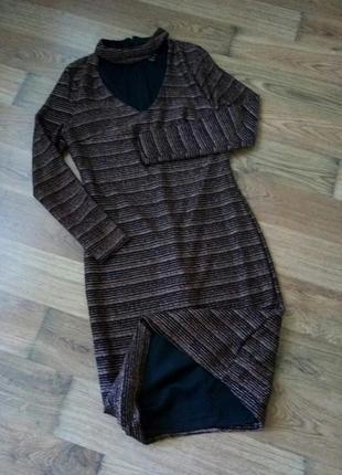 Новое черное платье футляр с бронзовым люрексом от new look6 фото
