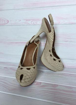 Босоножки туфли кожаные 100% натуральная кожа замш змеиный рептилия принт zara 37/38р5 фото