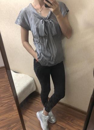 Блуза стального цвета натуральный шёлк1 фото